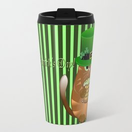 Sint Patrick's day cat with green top hat and drinking beer Travel Mug