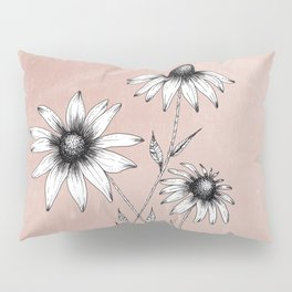 Wildflowers Ink Drawing | Dusty Pink Pillow Sham