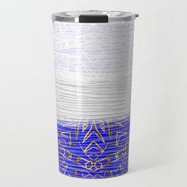 385 Blue Gold White Abstract Mandala Travel Mug