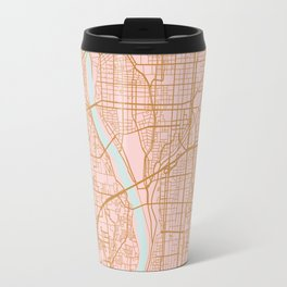 Pink and gold Kyoto map, Japan Travel Mug