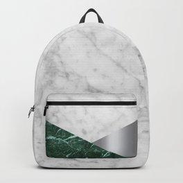 White Marble - Green Granite & Silver #999 Backpack
