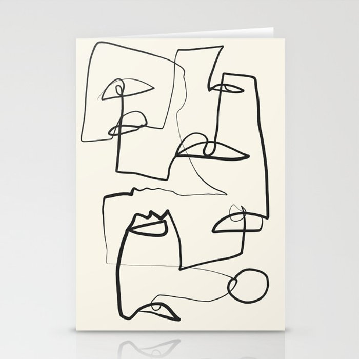 Abstract line art 12 Stationery Cards