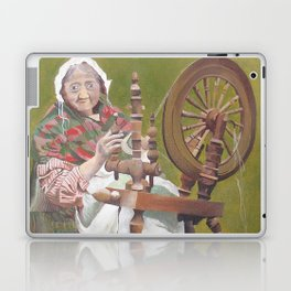 Old Irish Woman Sitting At A Spinning Wheel Laptop & iPad Skin