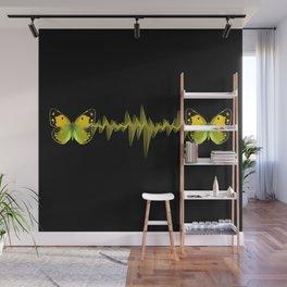 Pulse - Yellow butterflies sound waves Wall Mural