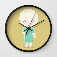 golden girls Wall Clocks featuring Girls in their Golden Years - Rose by Ricky Kwong