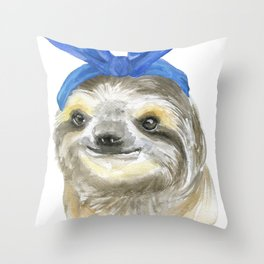 Sloth with a Blue Scarf Watercolor Throw Pillow