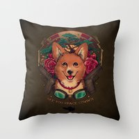 cowboy bebop Throw Pillows featuring See You Space Cowboy by Megan Lara
