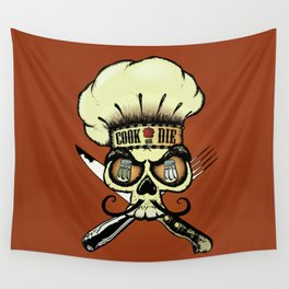 Cook or die!Chef's skull Wall Tapestry