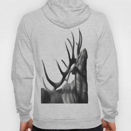 Elk in Black in White Hoody