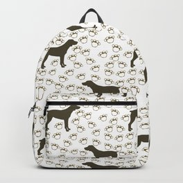 Big Brown Dog and Paw Prints Backpack