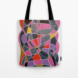 Pink, Purple and gray Heart abstract Tote Bag