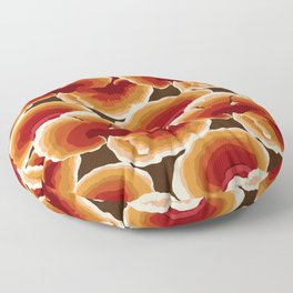 Retro Reishi Mushrooms Floor Pillow