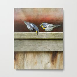Two Warblers on The Fence Metal Print