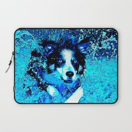 border collie jumping in water vector art crisp winter Laptop Sleeve