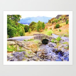 Bridge on the Road to Ashness, Lake District, UK. Watercolor Painting. Art Print