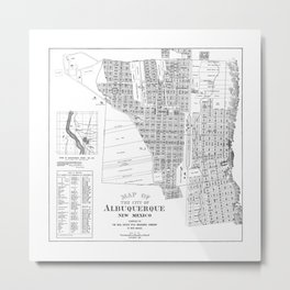 Albuquerque New Mexico Map in B&W  Metal Print