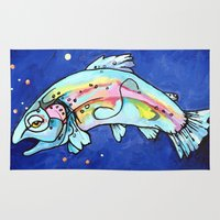 trout Area & Throw Rugs featuring Trout Pout by waggytailspetportraits