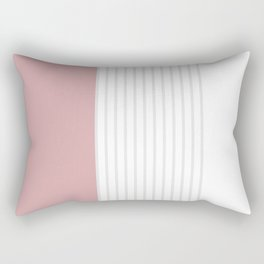Dusty Melon and Grey Stripes Rectangular Pillow