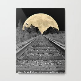Crow over Railroad Tracks to the Moon A256 Metal Print