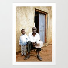 Grandfather and grandson Art Print