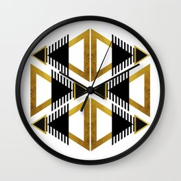 Geometry Pattern - Gold Black On White Wall Clock