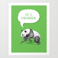 pun Art Prints featuring Panda Pun by Zeke Tucker