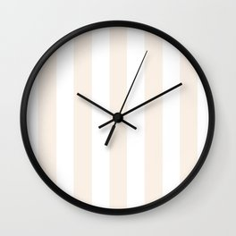 Linen pink - solid color - white vertical lines pattern Wall Clock