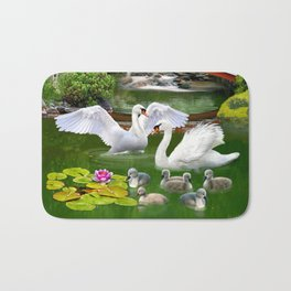 Swans and Baby Cygnets in an Oriental Landscape Bath Mat