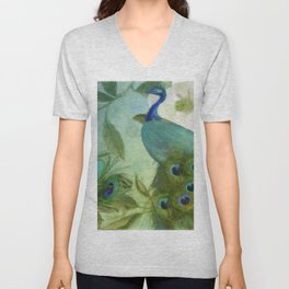 Peacock and Magnolia II Unisex V-Neck