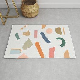Mix of color shapes happy artwork Rug