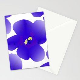 Large Retro Blue Flowers 1 White Background #decor #society6 #buyart Stationery Cards