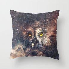 Purple Galaxy Nebula Stars Blue Space Hipster Owl Throw Pillow