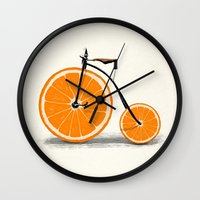 bike Wall Clocks featuring Vitamin by Florent Bodart / Speakerine