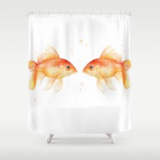 Goldfish Love Watercolor Fish Painting Shower Curtain