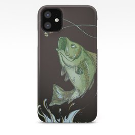Largemouth Bass Jumping Out Of Water At Night // Spinner lure // Splashing Water // Fish On! iPhone Case