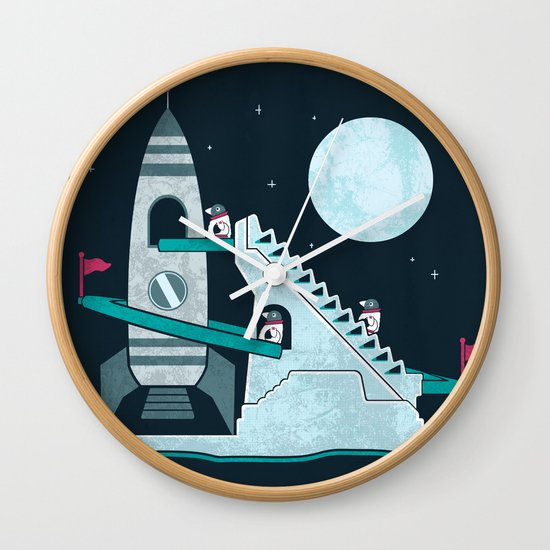 Penguin Space Race Wall Clock