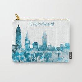 Cleveland Ohio Monochrome Blue Skyline Carry-All Pouch