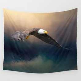 Painting flying american bald eagle Wall Tapestry
