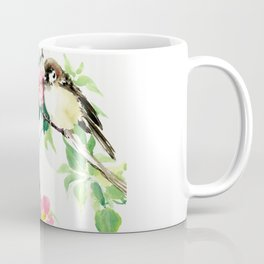 Sparrows and Apple Blossom, spring floral bird art Coffee Mug