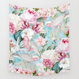 Pastel Blue Cockatoo Roses Flower Jungle Wall Tapestry