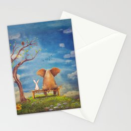 Elephant and rabbit sit on a bench on the glade Stationery Cards