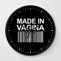 vagina Wall Clocks featuring MADE IN VAGINA BABY FUNNY BARCODE (Black & White) by CreativeAngel