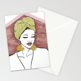 Afro gold Stationery Cards