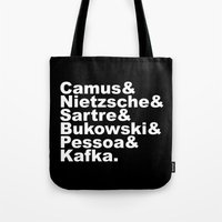 nietzsche Tote Bags featuring Camus& Nietzsche& Sartre& Bukowski& Pessoa& Kafka. White on Black by Andrew Gony