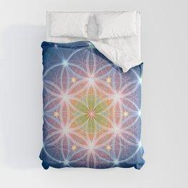 Blue Flower of Life Comforters