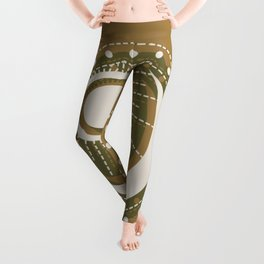Moonlit Love - Mid Century Modern Gold Leggings
