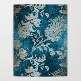 Aqua Teal Vintage Floral Damask Pattern Poster