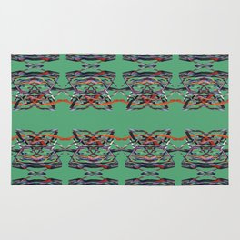Tiger Heads Pattern Green Rug