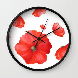 Red Poppy Flower | Watercolor Floral | Renee Davis Wall Clock