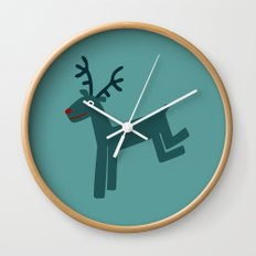 Reindeer-Teal Wall Clock